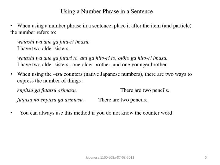 Using a Number Phrase in a Sentence