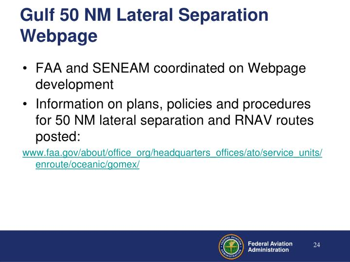 Gulf 50 NM Lateral Separation Webpage