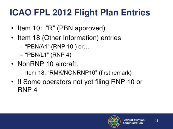ICAO FPL 2012 Flight Plan Entries
