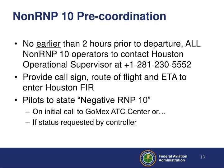 NonRNP 10 Pre-coordination