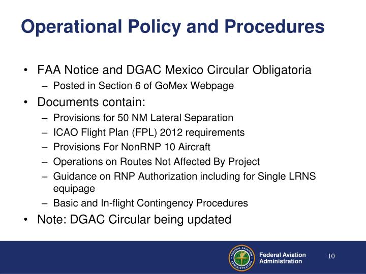 Operational Policy and Procedures