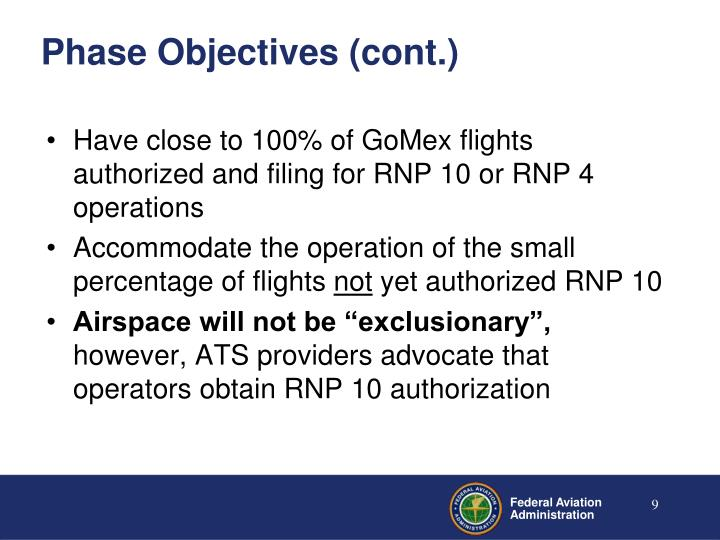 Phase Objectives (cont.)