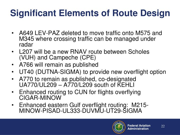 Significant Elements of Route Design
