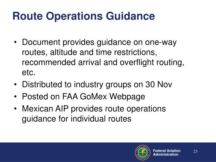 Route Operations Guidance