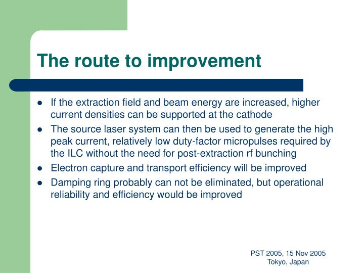 The route to improvement
