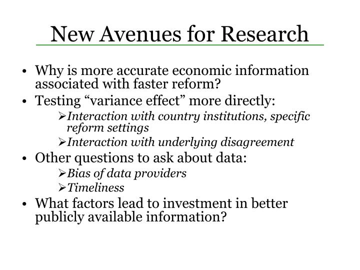 New Avenues for Research