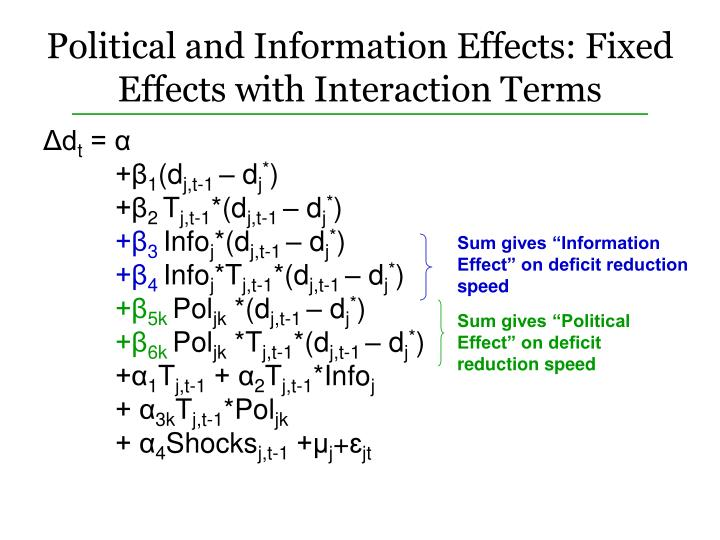 Political and Information Effects: Fixed Effects with Interaction Terms