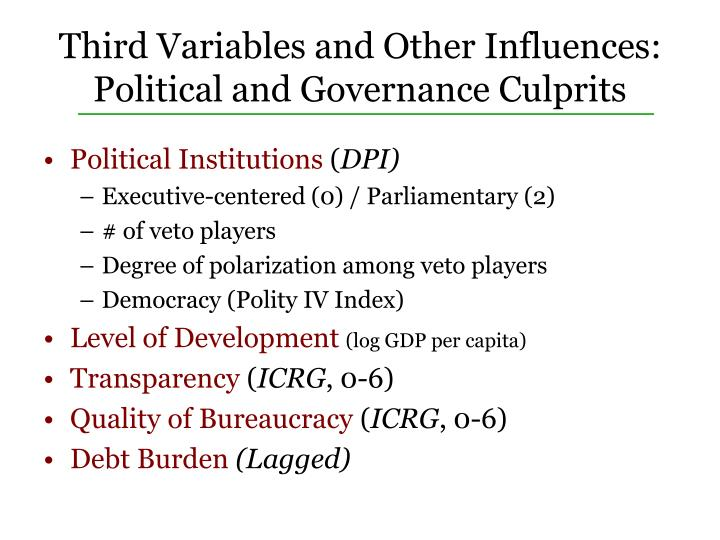 Third Variables and Other Influences: Political and Governance Culprits