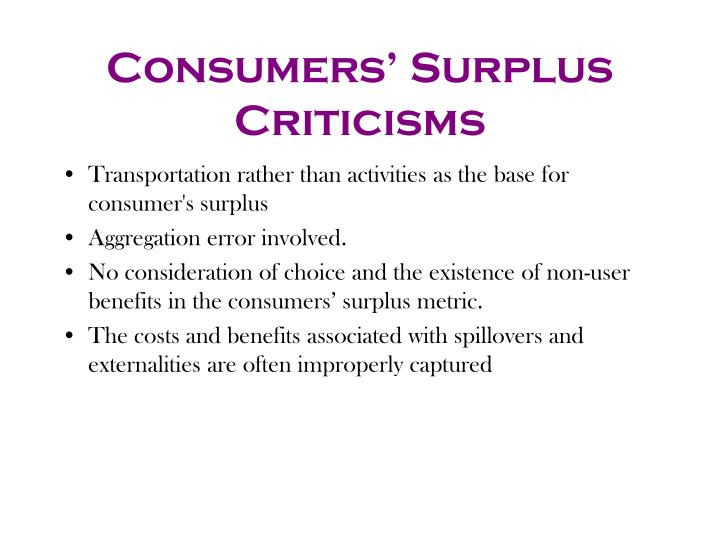 Consumers' Surplus Criticisms
