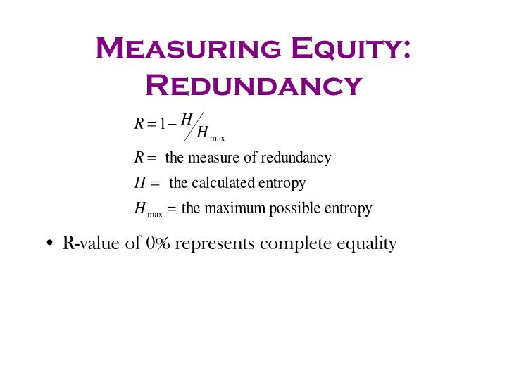 Measuring Equity: Redundancy