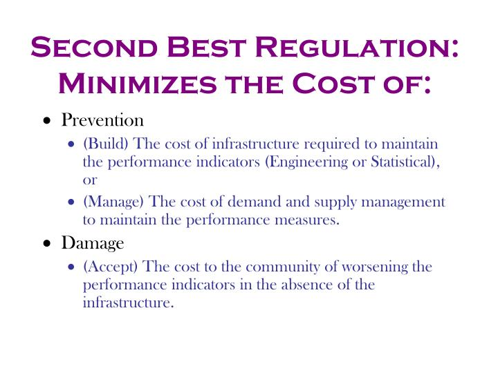 Second Best Regulation: Minimizes the Cost of: