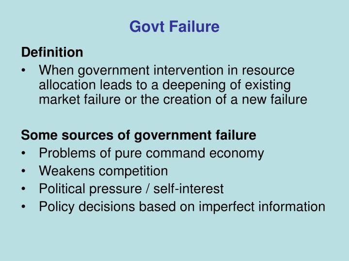 Govt Failure