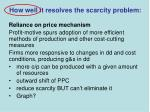 how well it resolves the scarcity problem3