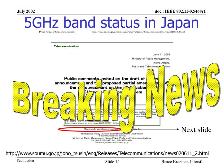 5GHz band status in Japan