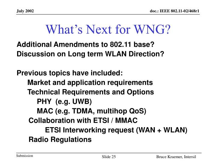 What's Next for WNG?