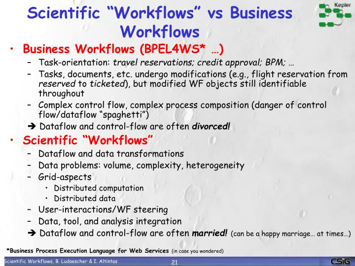 "Scientific ""Workflows"" vs Business Workflows"