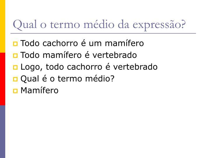 Qual o termo médio da expressão?