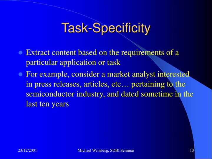 Task-Specificity