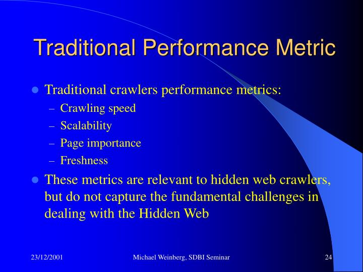 Traditional Performance Metric
