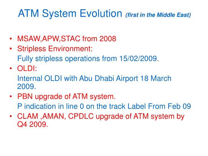 ATM System Evolution