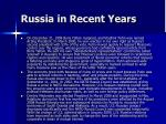 russia in recent years
