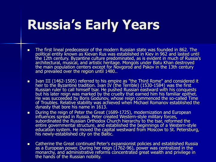 Russia's Early Years