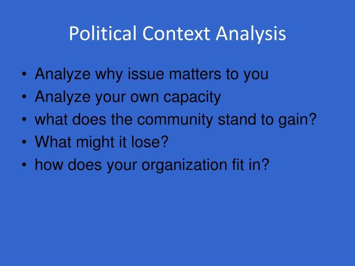 Political Context Analysis