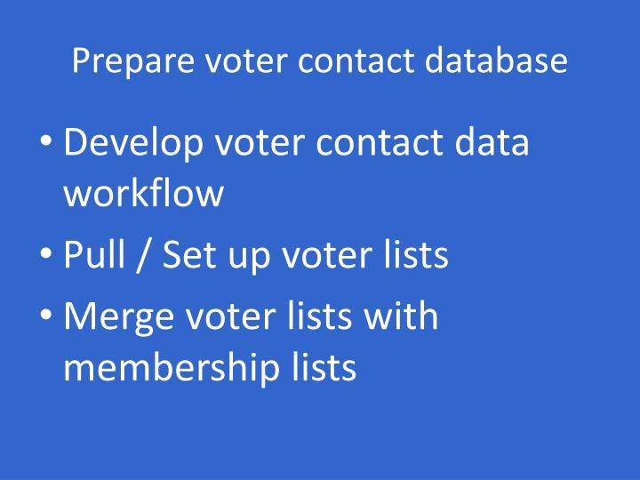 Prepare voter contact database