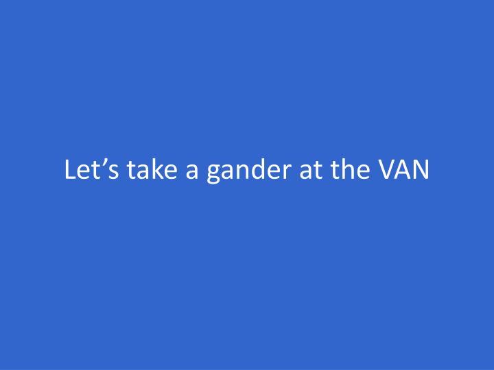 Let's take a gander at the VAN