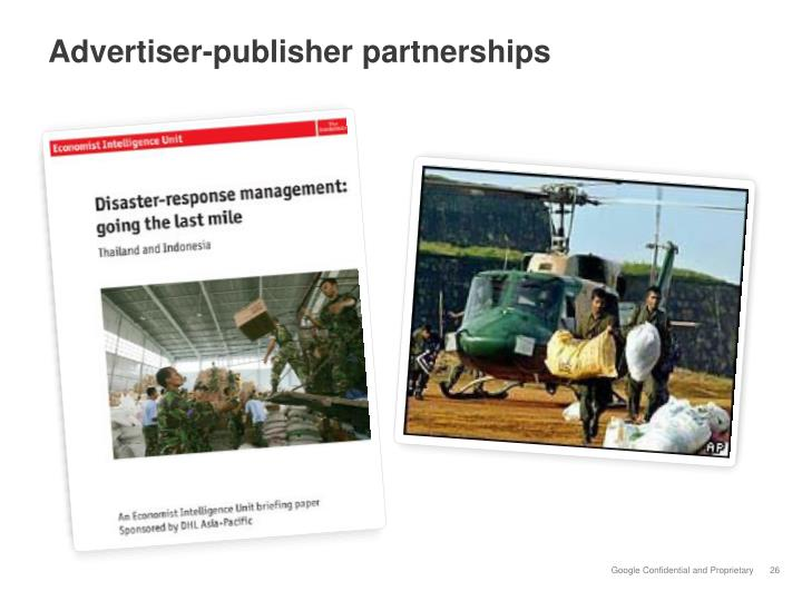 Advertiser-publisher partnerships