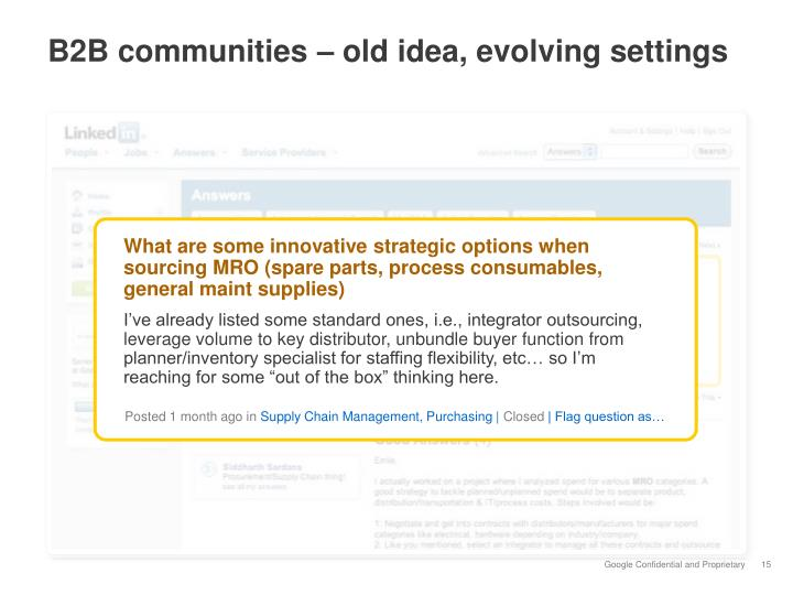 B2B communities – old idea, evolving settings