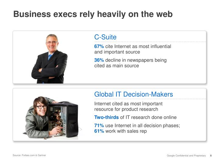 Business execs rely heavily on the web