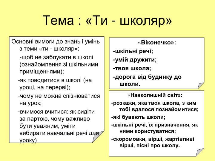 Тема : «Ти - школяр»