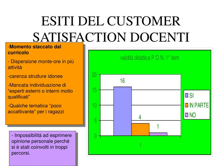 ESITI DEL CUSTOMER SATISFACTION DOCENTI