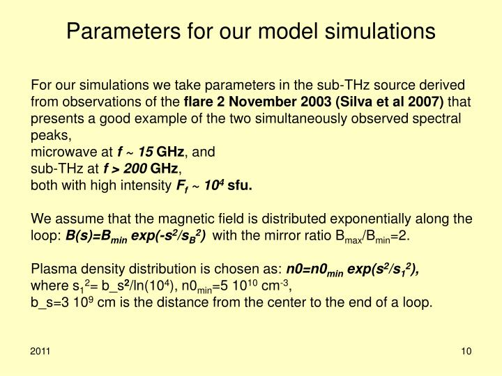 Parameters for our model simulations