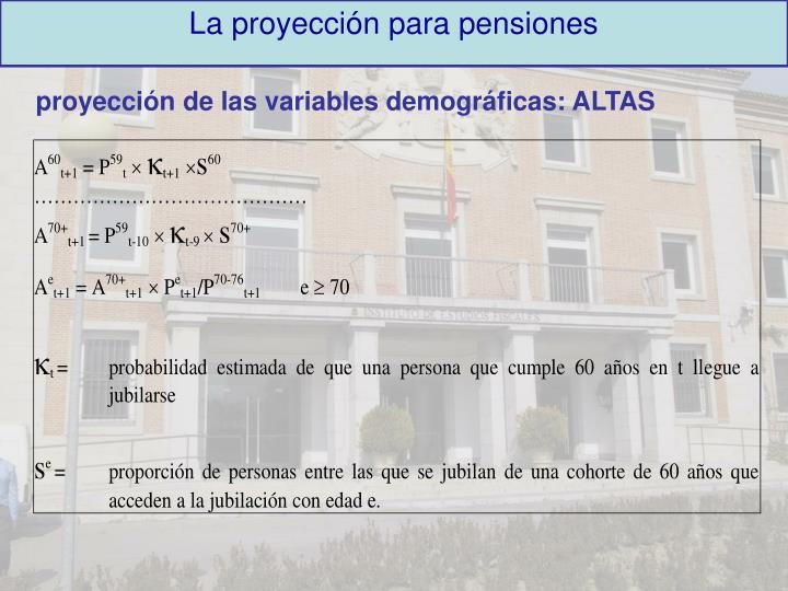 La proyección para pensiones