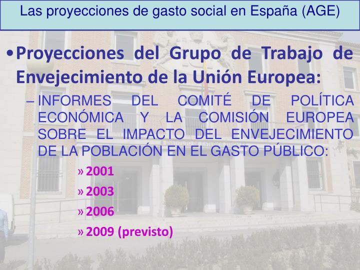 Las proyecciones de gasto social en España (AGE)