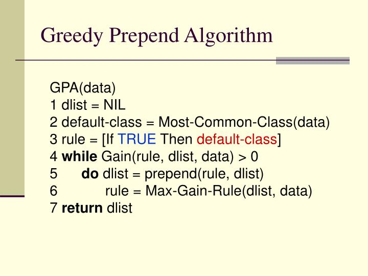 Greedy Prepend Algorithm