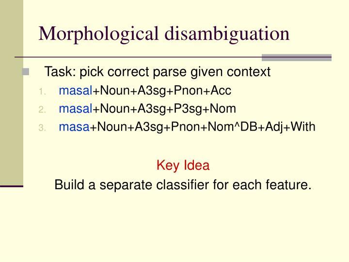 Morphological disambiguation