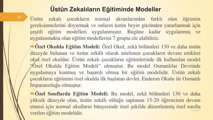 stnZekallarn Eitiminde Modeller