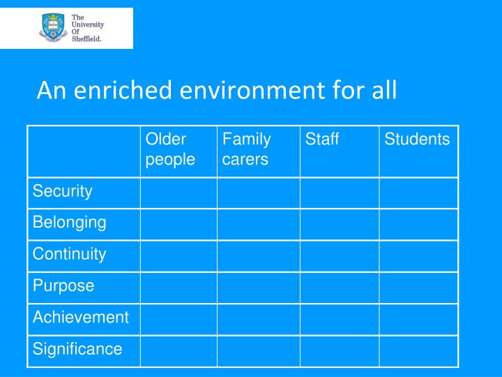An enriched environment for all