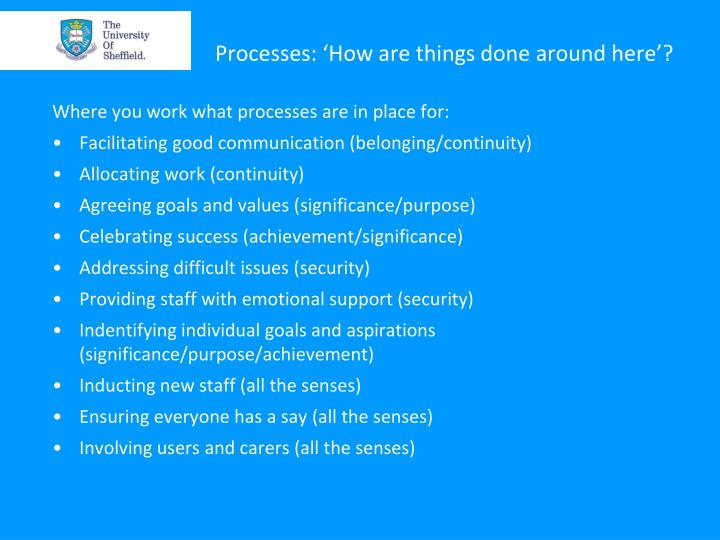 Processes: 'How are things done around here'?
