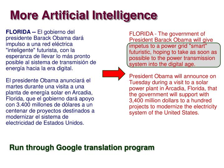 More Artificial Intelligence