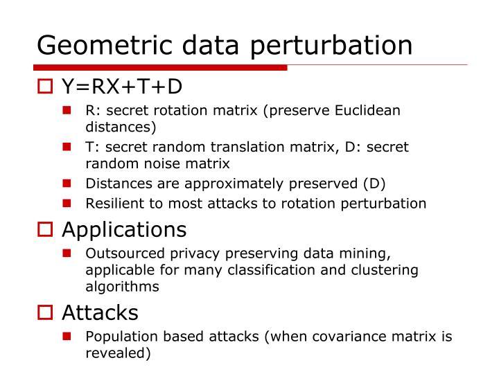 Geometric data perturbation