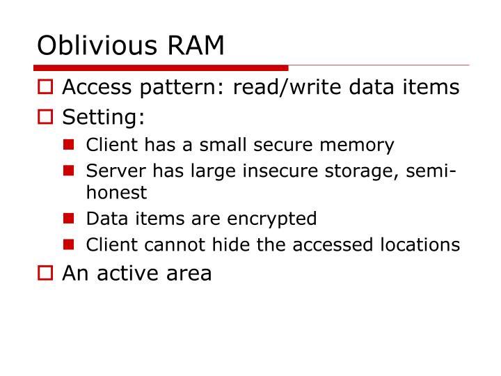Oblivious RAM
