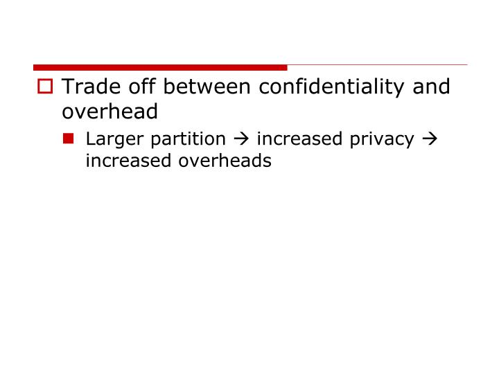 Trade off between confidentiality and overhead
