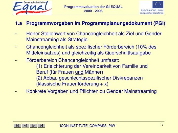 1.a Programmvorgaben im Programmplanungsdokument (PGI)