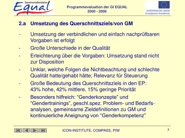 2.a Umsetzung des Querschnittsziels/von GM