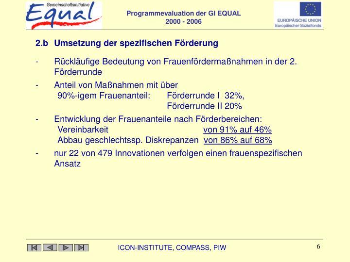 2.b Umsetzung der spezifischen Förderung