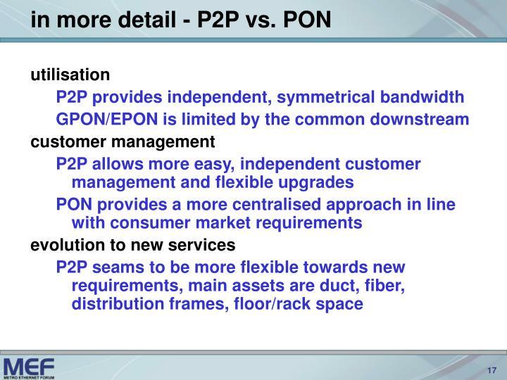 in more detail - P2P vs. PON